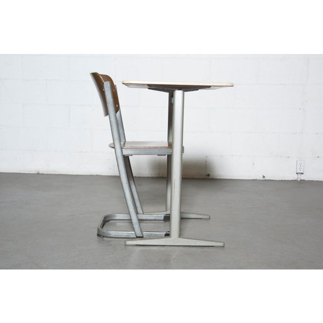 Retro Industrial School Desk and Chair Set - Image 3 of 11