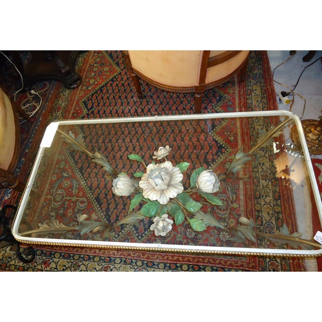 Iron & Glass Italian Tole Painted Coffee Table - Image 3 of 5
