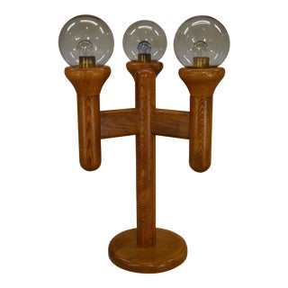 Mid-Century Sculptural Cactus Style Oak & Clear Glass Globes Table Lamp