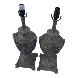 Ceramic Crackle Table Lamps - A Pair