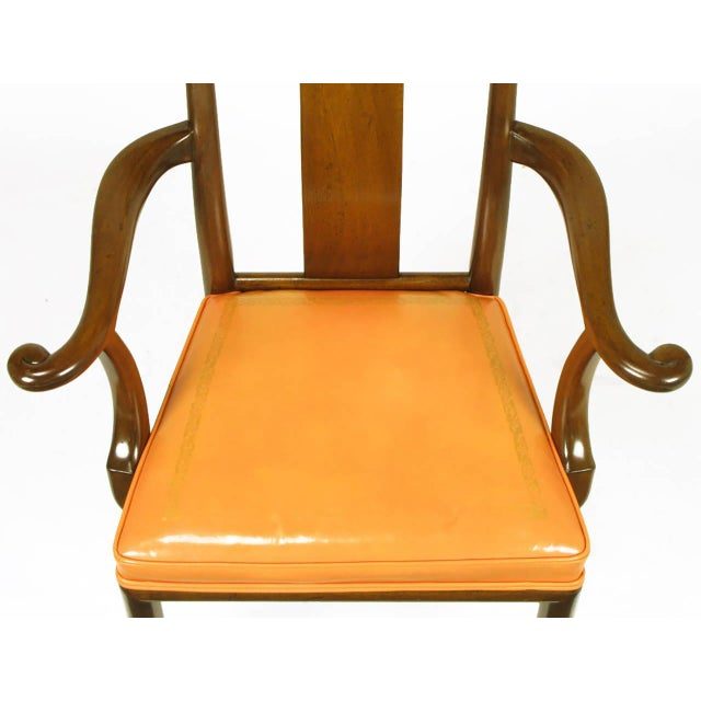 Six Walnut and Tooled Leather Splat-Back Dining Chairs - Image 8 of 10