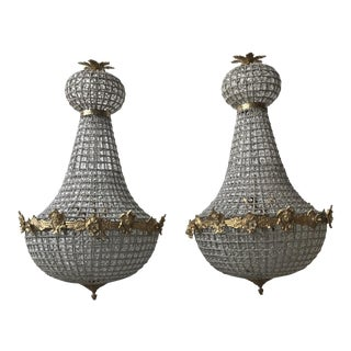 Empire Gold Cherub Large Chandeliers - a Pair