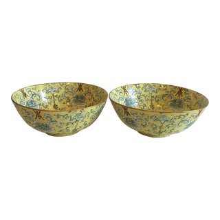 Yellow Asian Porcelain Decorative Bowls - A Pair