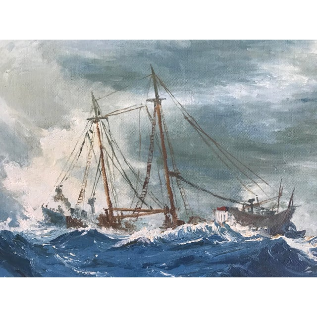 "1963 Bonnie Posselli ""Storm Tossed"" Nautical Oil Painting - Image 4 of 8"