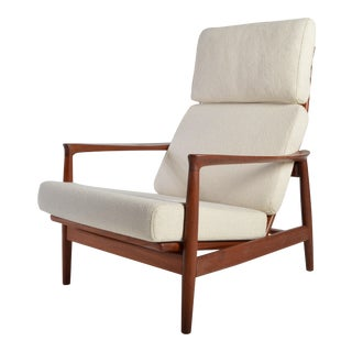 Rare Teak High Back Lounge Chair by Folke Ohlsson for Dux