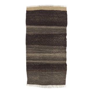 Vintage Black & Gray Turkish Kilim Rug - 1′7″ × 3′1″