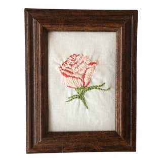 Hand Embroidered Rose Art