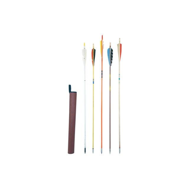 Vintage Wood Arrows & Quiver- Set of 5 - Image 1 of 5