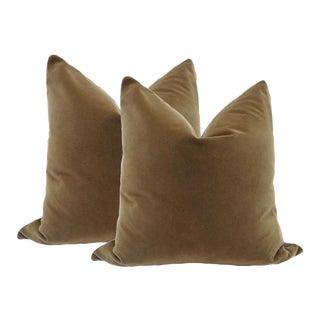 "22"" Chestnut Brown Velvet Pillows - a Pair"