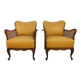 Italian Hand Caned Leather Armchairs in the style of Paolo Buffa
