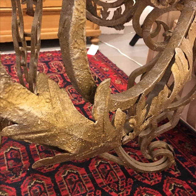 Travertine Top & Gilded Cast Metal Foyer Table - Image 7 of 8