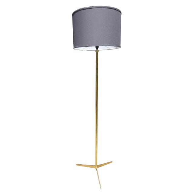 Mid Century Modern BrassTripod Floor Lamp in the Manner of Paul McCobb - Image 4 of 6