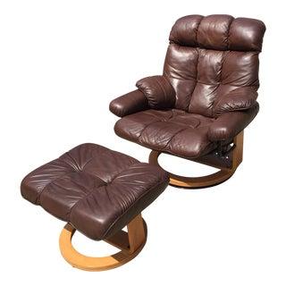 Ekornes Style Espresso Leather Chair & Otttoman - A Pair
