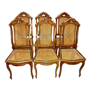 Victorian French Provincial Walnut Carved Caned Dining Chairs - Set of 6