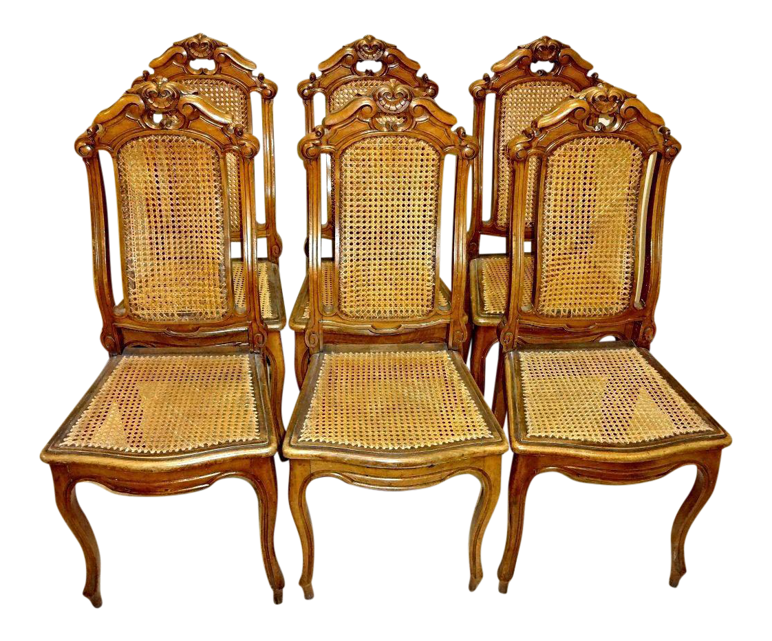 Victorian French Provincial Walnut Carved Caned Dining Chairs   Set Of 6