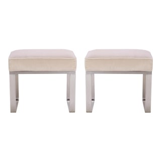 Ritz-Carlton Brushed Steel Ottomans in Italian Velvet - Pair