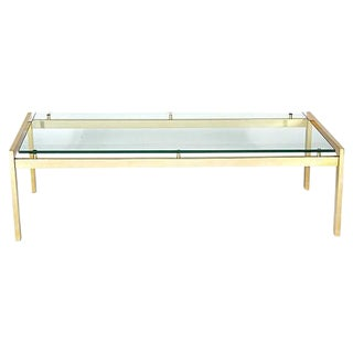 1970s Vintage Gilt Metal & Glass Top Coffee Table