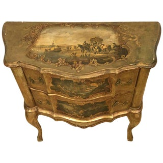 Small Italian Baroque Style Bombay Commode or Nightstand in Giltwood Finish