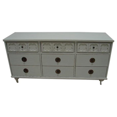 Vintage Antique Jade Painted Low Dresser - Image 1 of 4