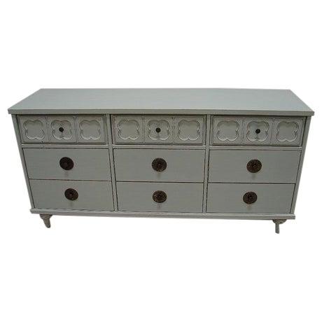 Image of Vintage Antique Jade Painted Low Dresser