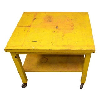 Steel Industrial Table in Sunshine Yellow