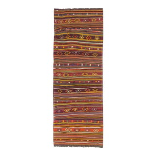 Vintage Embroidered Turkish Kilim Runner - 2′11″ × 8′