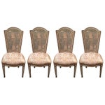 Image of Regency Style Caned Upholstered Chairs - Set of 4