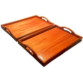 Lacquered Wood Valet Trays - A Pair