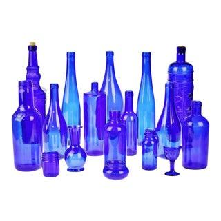 Decorative Cobalt Blue Glass Bottles - Set of 16