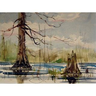 Modernist Lake Landscape Watercolor Painting