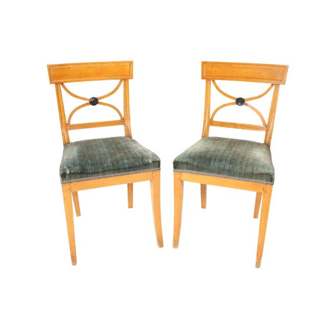 Swedish Velvet Seated Side Chairs - Pair - Image 1 of 6