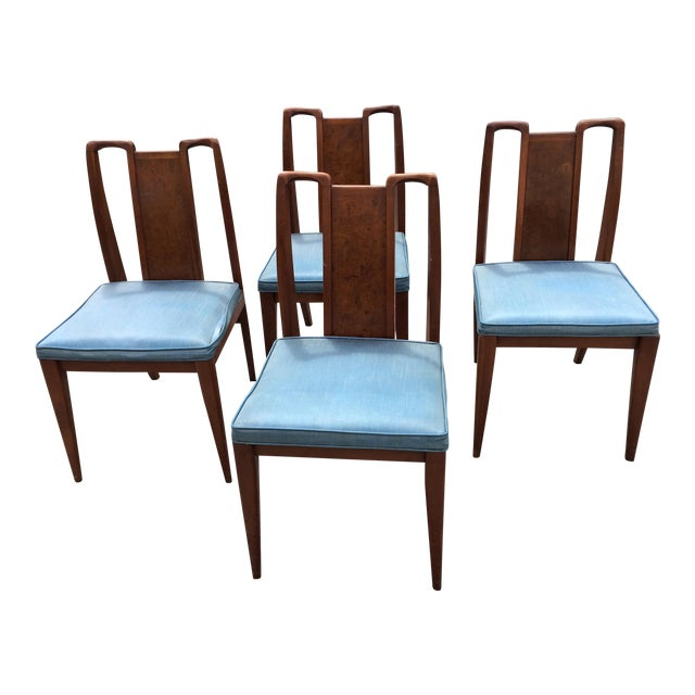 Mid-Century Modern Curved Burl Wood Dining Chairs- Set of 4 - Image 1 of 10