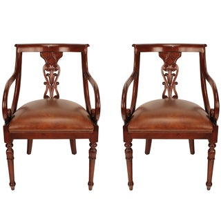 Pair of Regency Leather Arm Chairs