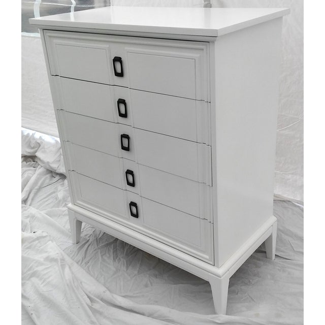 Dixie Mid Century White Lacquered Tall Dresser Chairish