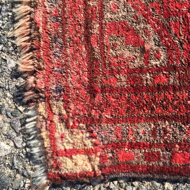 """Antique Turkaman Red Persian Rug - 1'10"""" x 2'10"""" - Image 7 of 7"""