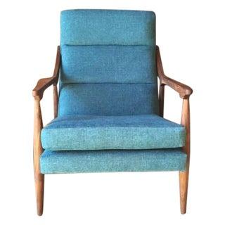 Mid Century Style Custom Danish Aqua Lounge Chair