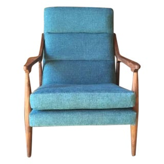 Mid Century Style Custom Danish Aqua Lounge Chair