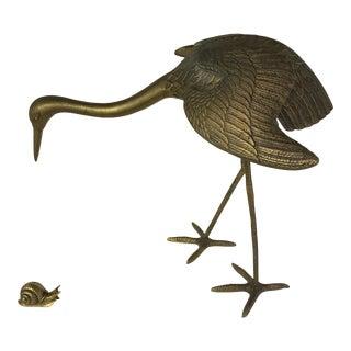 Vintage Brass Crane & Snail - A Pair