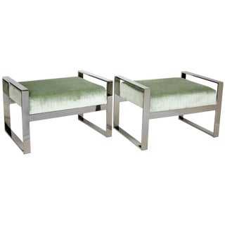 Milo Baughman Vintage Style Mid-Century Modern Chrome Upholstered Green Benches Stools- Pair