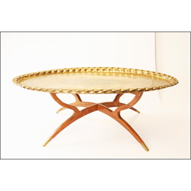 Vintage Moroccan Coffee Table with Brass Charger Top - Image 3 of 11
