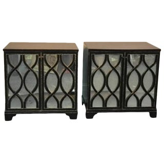 PAIR OF JAMES MONT INSPIRED MIRRORED COMMODES WITH BEAUTIFUL CARVED WOOD OVERLAY