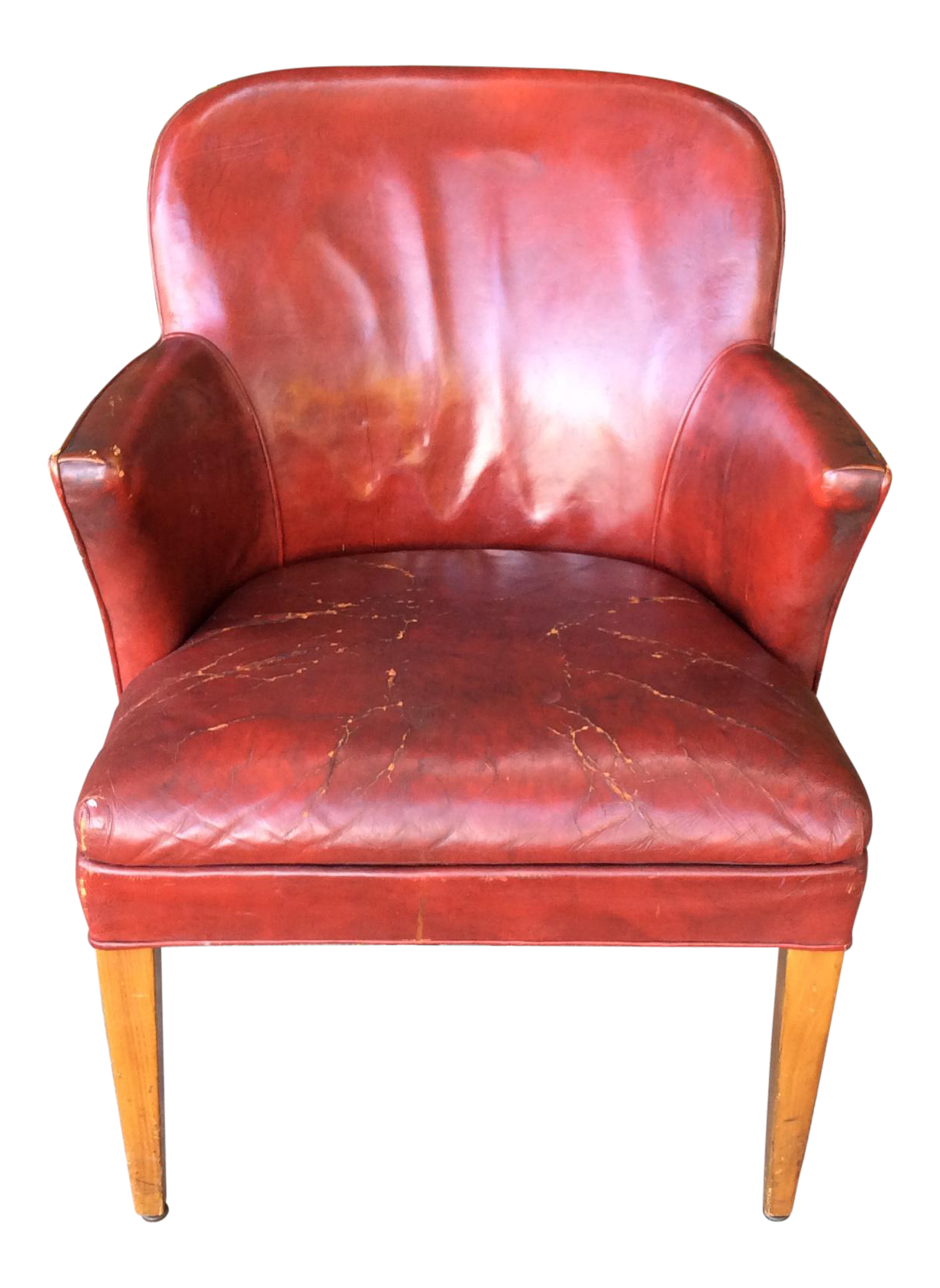Vintage Red Leather Side Chair