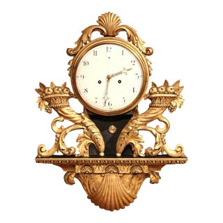 18th Century French Louis XV Carved Gilt Fruit Basket and Shell Wall Clock