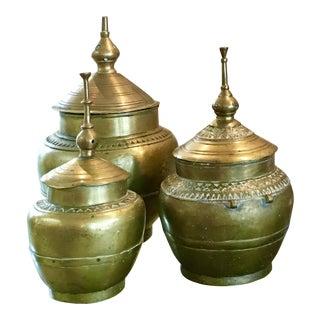 Asian Style Brass Lidded Pots - Set of 3