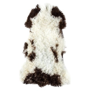 "Aydin Genuine Handmade Sheepskin Rug, Seat Cushion, Black White, 1'8"" x 3'2"""