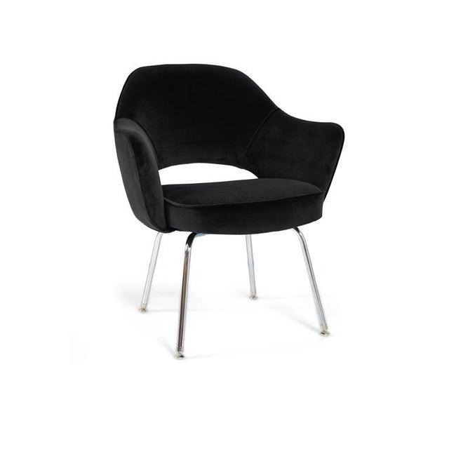 Saarinen Executive Armchairs in Black Velvet, Set of Six - Image 4 of 4