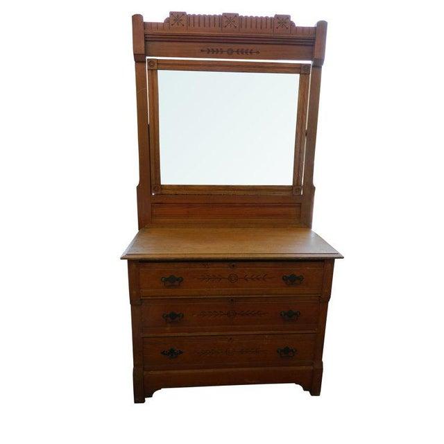 Classic antique eastlake dresser and mirror chairish for Eastlake storage