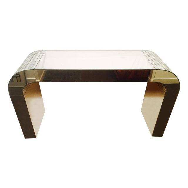 Vintage Mirrored Waterfall Console - Image 1 of 7