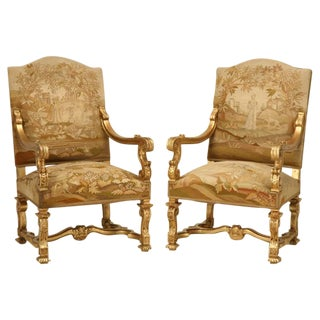 Antique French Gilded Throne Chairs, circa 1900