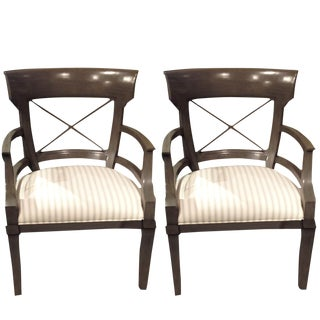 Vanguard Furniture Hector Arm Chair in Avocado Stripe - A Pair